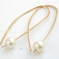 Golden Pearl Earrings: Minimalist, Contemporary, Pearl Earrings