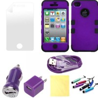 (TRAIT) 7IN1 Purple&Black iPhone4 4g 4s Front and back covers Protective Cases for iphone 4 4g 4s Cases +USB Cable +AC Wall Charger+Car charger+Screen protector+cleaning Cloth+button sticker:Amazon:Cell Phones & Accessories