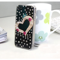 1PC Bling Crystal Heart Rhinestone Plastic Hard Back Phone Case for iPhone 4, Cell Phone Case