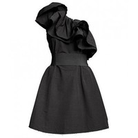 Bright Black Silk Single Shoulder Flounced Dress - Women's Dresses - Apparel