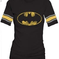 Batman Distressed Logo Black Raglan Hockey Juniors T-Shirt Tee