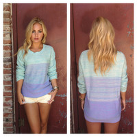 Lilac & Mint Ombre Knit Sweater