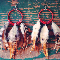 Red Turquoise Feather Hoop Earrings by francisfrank on Etsy