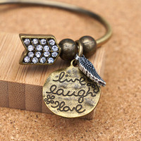 Live Laugh Love Open Bangle - Rhinestone Bangle