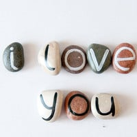 8 Magnets Letters Custom Name Beach Pebbles by HappyEmotions
