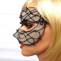 Unisex black and silver masquerade mask, costume, accessories, handmade