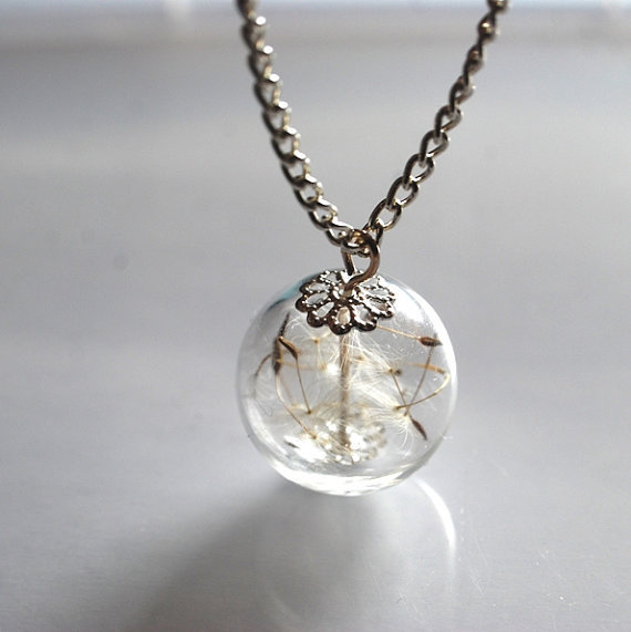 Dandelion Necklace Specimen Seeds  Wish by NaturalPrettyThings