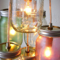 Pretty Pastels Mason Jar Chandelier - Mason Jar Light Swag Lamp - Handcrafted UpCycled BootsNGus Hanging Pendant Lighting Fixture
