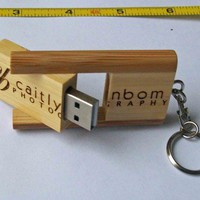 Wooden USB Flash Drive with Logo | CustomMadeStuff - Media on ArtFire