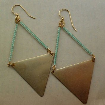 Mint green and brass triangle earrings statement by littlepancakes