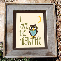 Owl art Print dancing owl artwork 8x10 I love the by n2design