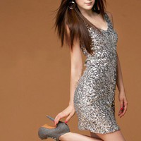 Glamorous Girl. Sexy Chic Sparkling Silver Sequins Mini Dress.Cocktail | GlamUp - Clothing on ArtFire