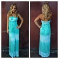 Mint Strapless Tie Dye Jessica Dress