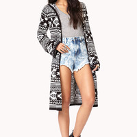 Tribal Print Maxi Cardigan