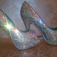 SWAROVSKI Crystal Heels Shoes Sale price one pair only by sillydi