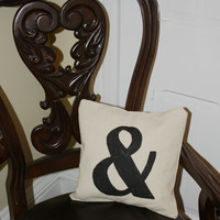 "The ""&""  And, Pillow Cover, Hand painted in Black on Creamy canvas"