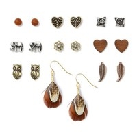 Mixed Metals, Wood and Feathers Stud and Drop Earrings Set of 9  | Icing
