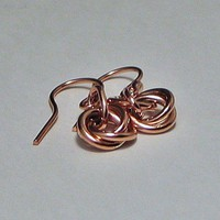 Love Knot Small Drop Earrings Copper | LaraJordanJewelry - Jewelry on ArtFire