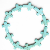 Brandy ♥ Melville |  Turquoise Stone Cross Bracelet - Bracelets - Jewelry - Accessories