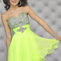 Beaded Strapless Sweetheart Chiffon Dress