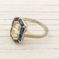 Gold Diamond and Sapphire Art Deco Ring | Shop | Erstwhile Jewelry Co.