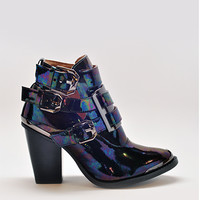 Exclusive Hyatt Oil Slick Iridescent Ankle Booties in Black Pewter by Jeffrey Campbell | Edge of Urge