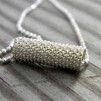 Sterling Silver Necklace in Diamond Texture by onegarnetgirl