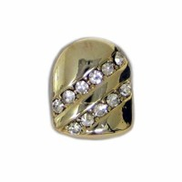 Single Grillz Forward slash of Ice hiphop bling 24k Gold Plated Tooth Clip