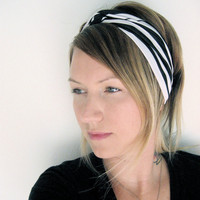 The Turban Headband In Knit Zebra Print by SevenWhiteRabbits