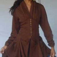 W628 Brown/Blouse-Sash-2Pc-Button-Asym MADE 2 ORDER M L XL 1X 2X | lotustraders - Clothing on ArtFire