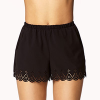 Scalloped Laser-Cut Shorts | FOREVER 21 - 2047008705