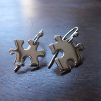 Silver Puzzle Piece Earrings by GorjessJewellery on Etsy