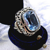 Art Deco Silver Ring Antique Paste Forget me not Blue 1930s