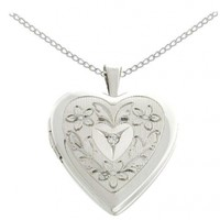 "Sterling Silver Diamond Accent Flowers and Leaves Heart Locket Pendant Necklace, 18"":Amazon:Jewelry"
