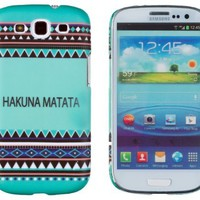 Hakuna Matata Mint Aztec Pattern Embossed Slim Fit Hard Case for Samsung Galaxy S3 (AT&T, T-Mobile, Sprint, Verizon, US Cellular, International) [Retail Packaging by DandyCase with FREE Keychain LCD Screen Cleaner]