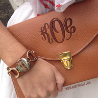 Monogrammed Genuine Leather Cuff Bracelet   Accessories   Marley Lilly