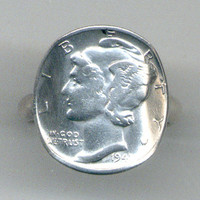 1941 Silver Mercury Dime Ring