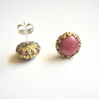 Coral Stone Stud Earrings with Bronze Trim by ASimpleKindOfFancy