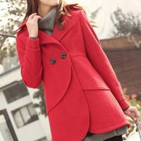Long double-breasted coat jacket in watermelon red pink