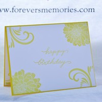 Bright and Sunny, Floral and Swirl Handmade Happy Birthday Card