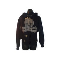 Black Skull Hoodie with Bow and Patchwork Womens Clothing Petite Small