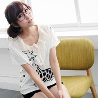The Chiffon lace little cute giraffe cotton t-shirt