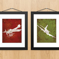 Distressed Vintage Aviation Print Series Wall by littleredflag