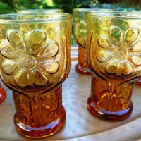 Vintage Libbey Amber Country Garden Juice Glasses set of 6 | RefinedVintage - Glass on ArtFire