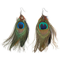 Charlotte Russe - Peacock Feather Earrings