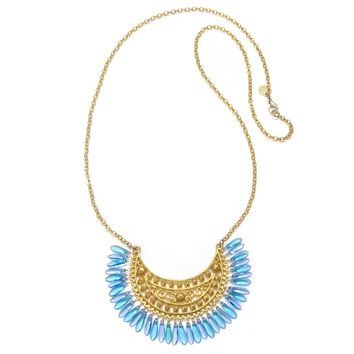 Charm & Chain | Gold & Blue Glass Pendant Necklace - Necklaces - Jewelry