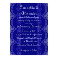 Intricate Royal Blue Pattern - Wedding Personalized Announcement