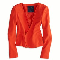 AEO Women's Open Cropped Blazer (Orange)