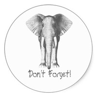 Elephant -- Don't Forget! Round Stickers
