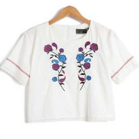 Flowers Embroidery T Shirt